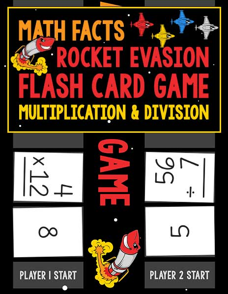 Math Facts Rocket Evasion Flash Card Game: Multiplication and Division